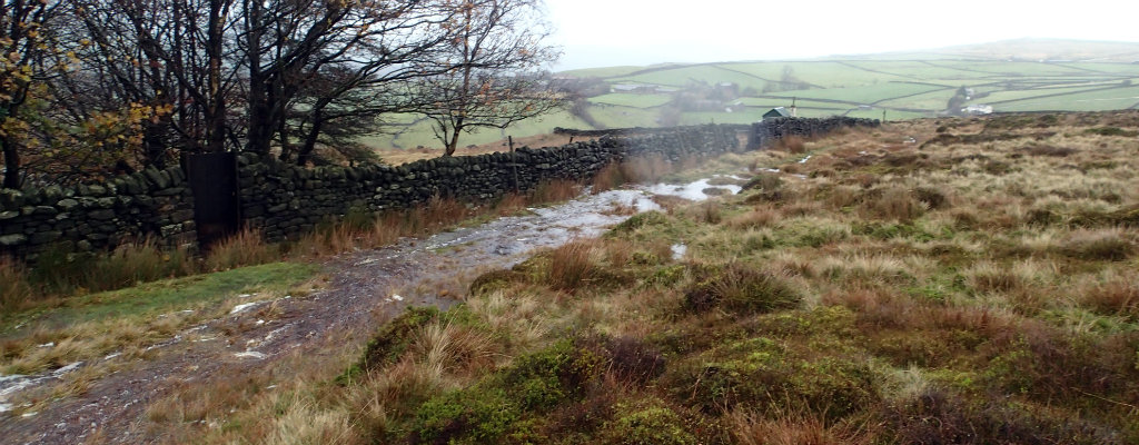 Pennine Way becoming a river during storm Abigail