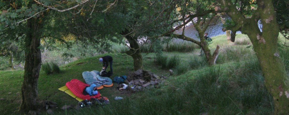 Gear everywhere after a night under the stars